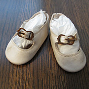 SOLD White Leather Shoes For Composition Or Bisque Doll