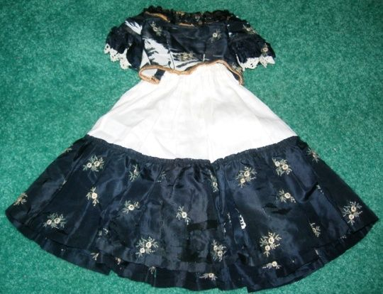 TLC Navy Silk Blouse and Skirt for French Fashion or China