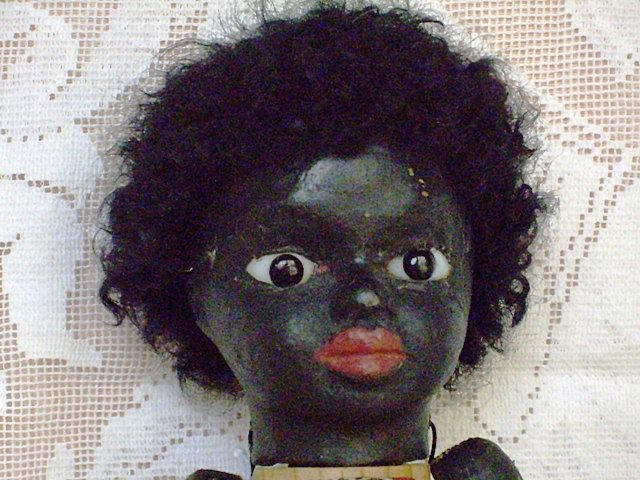 10 &quot;  Wood Folk Art Paper Mache  Black Man