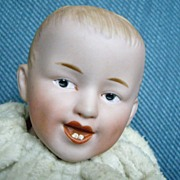 Cabinet Size Smiling German Heubach Musical  Toy Doll