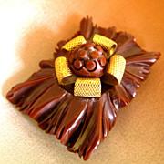 Brown Bakelite Deeply Carved Flower Dress Clip