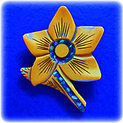 Carved Butterscotch Bakelite Flower Pin