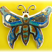 Vintage Taxco Sterling Silver Butterfly Pin