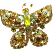 Yellow Rhinestone Butterfly Pin