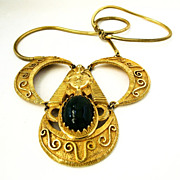 Castlecliff Huge Mayan Gold Tone Pendant Necklace