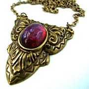 Dragon's Breath Pendant in Brass Tones
