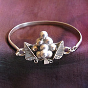 Taxco Mexico Sterling Silver Grape Cluster Bangle Bracelet
