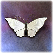 David Andersen Norway Sterling Silver White Enamel Butterfly Pin