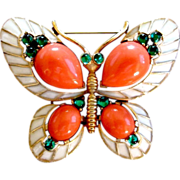 Crown Trifari 1968 &quot;L`Orient&quot; Coral Colored Butterfly Brooch