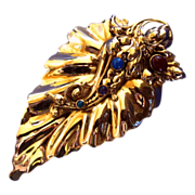 Vintage Tulla Booth Huge Ornate Gold Tone Leaf Brooch