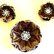 Vintage Brown Enamel Flower Pin and Earring Set