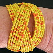 SALE 60-70's Flex Cuff Glass Seed Bead Bracelet-Bright Yellow & Orange!