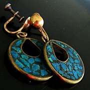 Vintage 40-60's Sterling Vermeil Turquoise Drop Earrings