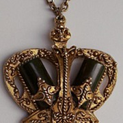 SALE 40-50's Crown Pendant Necklace w/Bakelite Inserts-Dimensional