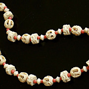 SALE 30-40's Carved Celluloid Openwork Art Bead & Coral Glass Necklace