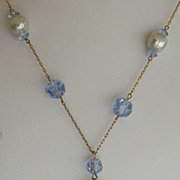 SALE 30-50's Blue Glass Crystal & Pale Blue Faux Pearl Tassel Necklace