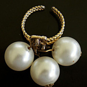 "SALE 60-70's BIG Faux Pearl 1 1/2"" Cha Cha Ring-Adjustable"