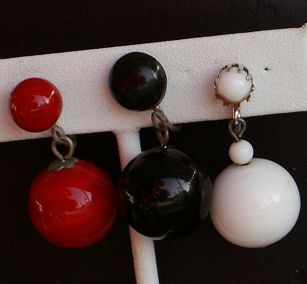 60-70's Collection 3 Pr. Glass Ball Drop Earrings-Coro,Japan-Black,White,Red