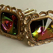 SALE 50-70's DANTE Watermelon Glass Rivoli 7/8&quot; Cufflinks