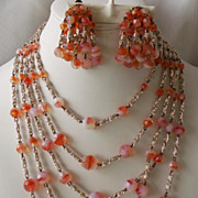 "50-70's Sunset  Art Glass SET 5-Strand Necklace 1 1/2"" ChaCha Earrings ..."