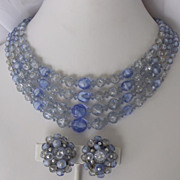 50-60's Ice & Dark Blue Crackle & Art Glass SET 4-Strand Necklace/Cluster 1 ...