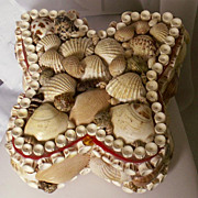 SALE 50-60's Butterfly Shaped Sea Shell Velvet Lined Jewelry Box
