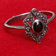 Vintage Petite 925 Silver, Onyx & Marcasite  Victorian Style 1 1/2&quot; Ring