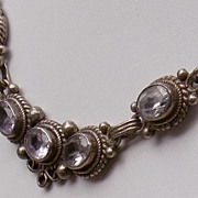 SOLD 50-70's Lavender Bezel Set Crystal & 925 Sterling Silver Necklace