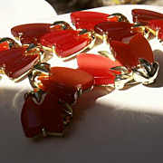 "50-60's LISNER Red+Cocoa Thermoset Tulips SET 1 1/8"" Bracelet & 1 3 ..."