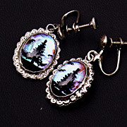 "50-60's Sterling Silver, Glass Domed Butterfly Wing Drop 1 1/8"" Earrings-Pine ..."