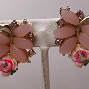 "50-60's Pink Thermoset,Celluloid Roses,Aurora Rhinestone 1 1/4"" Earrings"