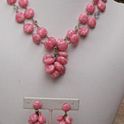 50-70's SET Pink/White Bead,Glass Crystal 2-Strand Tassel Necklace/Cha Cha ...