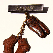 20-40's Celluloid Army Football Shoes & Pants Charm Dangle 2&quot; Brooch