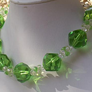 "SOLD 50-70's Big Green & Clear Jelly Lucite 1"" Crystal & Puzzle Bead Necklace"