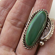 "SALE Estate Signed Navajo Sterling Silver & Malachite 1 1/2"" Ring-Size 5"