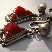 SALE PENDING Vintage Signed Mexican Silver & RED Coral Stone Drop 1 1/4&quot; Earrings