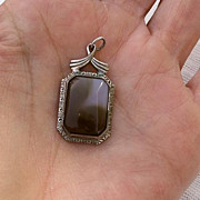 "40-60's Sterling Silver w/Blue & Brown Agate 1 1/4"" Pendant"