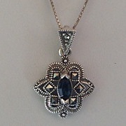 "SOLD Signed Sterling Silver,Marcasite & Blue Glass 1"" Pendant Necklace"