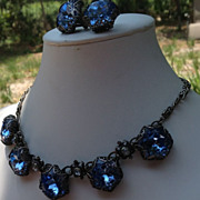 "40-50's Blue Glass 1"" Rhinestones & Greek Key Necklace/Earring Set"