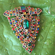 "20-40's Multi Color Rhinestone "" Deco Dress/Fur Clip"