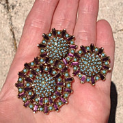 40-70's Purple Baguette & Turquoise Glass Cab Brooch/Earring Set