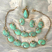 SALE 50's 4Pc Thermoset Set-Blue Cabochon Necklace,Bracelet,Ring,Earrings