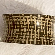 SALE 1950's Cupped Basket Weave WIDE Lucite Cuff Bangle Bracelet