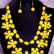 Sunshine Lemon Yellow Enameled Flower Rhinestone & Bead Necklace and Earrings