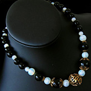 50-70's Black & Opalite and Filigree Covered GLASS Bead Necklace