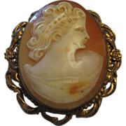 SALE Gold Filled Shell Cameo Pendant/Brooch