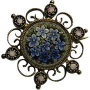 REDUCED Forget-Me-Not Micro Mosaic Brooch