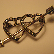 SOLD Silver Marcasite Valentine Hearts on Cupid's Arrow