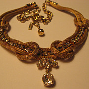 SOLD Volupte Gold Tone Mesh Rope Necklace with Rhinestones
