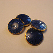 Vintage Blue Guilloche Enamel Cuff Links